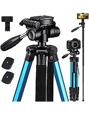 """Victiv 72"""" Camera Statief Aluminium T72 Max Hoogte 182cm - Lichtgewicht Statief & Monopod Compact voor Reizen met 3-weg Swivel Head en 2 Quick Release Platen voor DSLR Video Schieten - Blauw"""