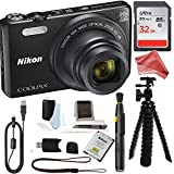 Nikon Coolpix S7000 Digital Camera with 20x Optical Image Stabilized Zoom 3-Inch LCD (Black) with 32 GB VALUE Accessory Bundle (by DigitalAndMore)
