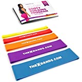 The x Bands Extra Thick Exercise Resistance Bands - Set of 2 or 5 Loop Booty Bands with Guide - Fitness Workout 15 to 125 lb - Best for Stretching, Yoga, Legs Training, Physical Therapy