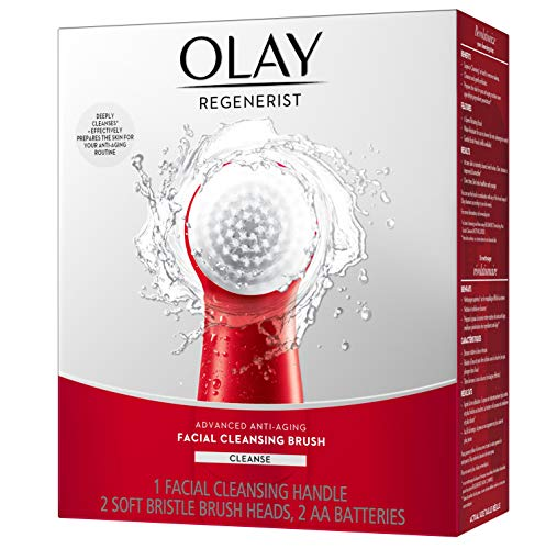 Facial Cleansing Brush by Olay Regenerist, Face Exfoliator with 2 Brush Heads, Great Stocking Stuffer