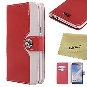Wild Wolf Luxury PU Leather Card Holder Flip Wallet Stand Case Cover for Samsung Galaxy Note 2 Note II N7100 (GALAXY NOTE 2, Red)