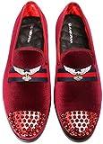 ELANROMAN Men's Penny Slip-on Genuine Leather Insole Metallic Textured Glitter Loafers Luxury Men Velvet Shoes Red US 11 EUR 45 Feet Lenght 300mm
