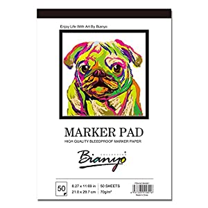 Bianyo BN-5801 Bleedproof Marker Paper Pad-A4(8.27inX11.69in) -50 Sheets, White (8.27″x11.69″)