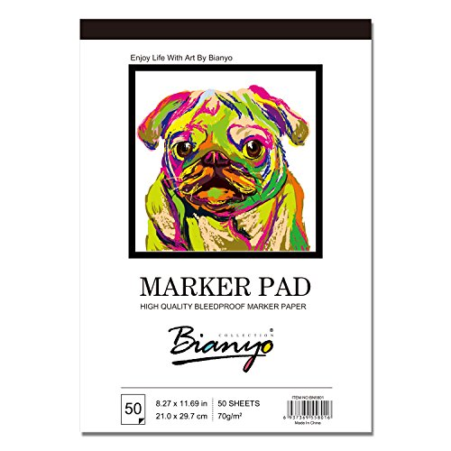 Bianyo BN-5801 Bleedproof Marker Paper Pad-A4(8.27inX11.69in) -50 Sheets, White (8.27