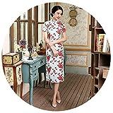 5sos pics - Summer Floral Chinese Traditional Women Dress Silk Satin Cheongsam Qipao Dress,Large,Color13