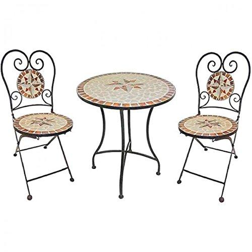 Mediterranes 3tlg Balkonset Mosaik Amarillo Sitzgruppe Metall Stuhl