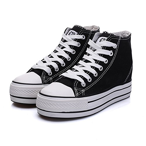 CYBLING Women Casual Platform Thick Sneakers Lace Up Fashion Sneakers White ET4THFM