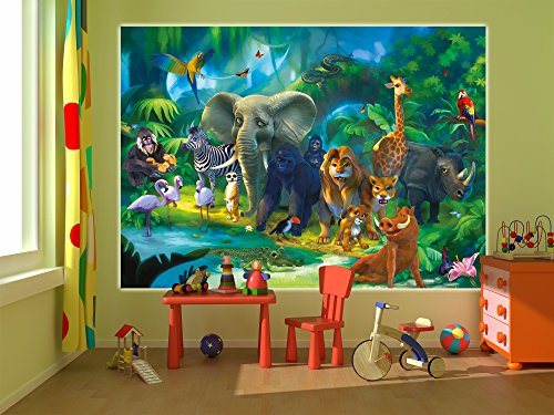 jungle animals safari wall decoration safari jungle mural xxl poster for childs room by. Black Bedroom Furniture Sets. Home Design Ideas