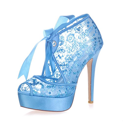 Lace Lace Peeking Court Women'S Toe L 34 Pump Wedding YC 3128 Platform Heels Shoes Blue High RxYaS