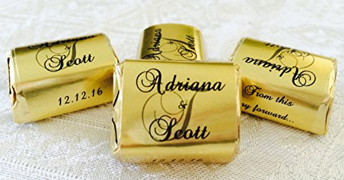 (210 GOLD FOIL Monogram Wedding Candy wrappers/stickers/labels that fit your HERSHEY NUGGETS (Personalized Favors) for any Party or)