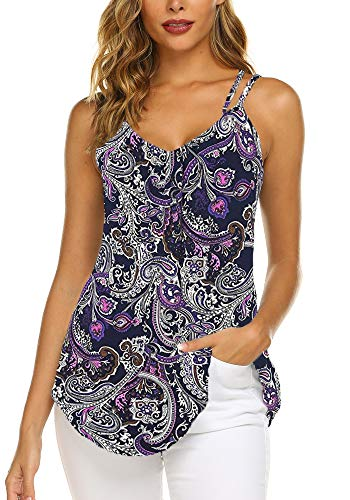 OURS Women's Casual Floral Print Double Spaghetti Strap Tunic Tops Summer V Neck Paisley Sleeveless Tank Shirts (Purple, M)