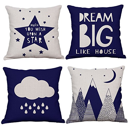 KACOPOL Nordic Geometry Mountain Star & Inspirational Quote Throw Pillow Cover Cotton Linen Rustic Nursery Home Decor Pillow Case Cushion Cover Kids Room 18