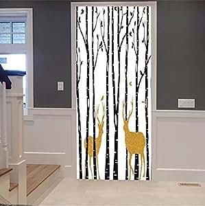 "iprint 3d Door Wall Mural Wallpaper Stickers-Birch trees with gold Christmas reindeer, vec For Room Decor 30x79"" (77x200 Cm)"