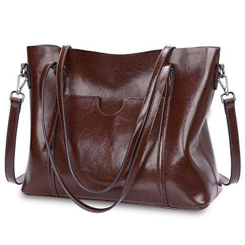 (S-ZONE Women Genuine Leather Top Handle Satchel Daily Work Tote Shoulder Bag Large Capacity (Coffee))