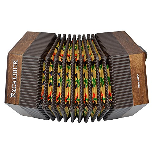 Excalibur Vivo Bellezza V-1B Italian Concertina - Walnut Brown by Excalibur Accordions