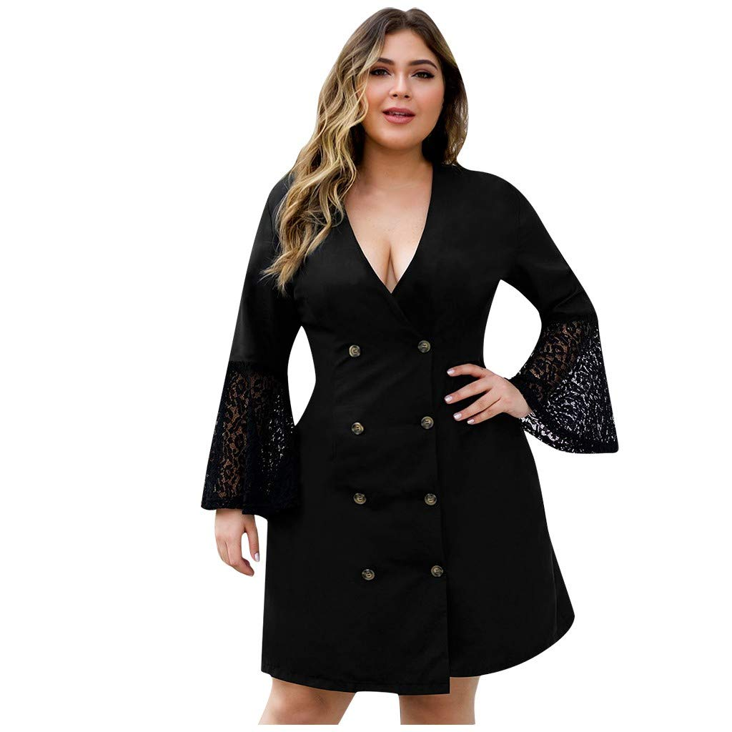 Forthery-Women Plus Size Button Lace Sleeve Stitch Short Dress Hollow Out Long Sleeve Cocktail Club Mini Dresses