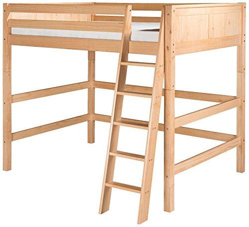 Bed Size Wood Natural Full - Camaflexi Panel Style Solid Wood High Loft Bed, Full, Side Angled Ladder, Natural