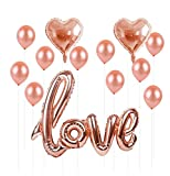 REAL Rose Gold Love Balloon Set I 9 Pcs PREMIUM QUALITY Elegant Rose Gold Latex Party Balloons I Rose Gold Foil Heart Balloons for Weddings,Birthdays,Bridal Shower Decorations,Baby Shower