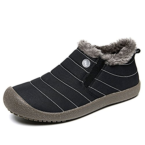 CIOR Men and Women Snow Boots Fur Lined Winter Outdoor Slip On Shoes Ankle Boots.L.black-44