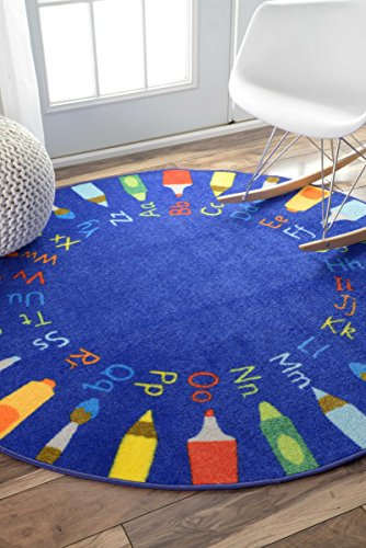 Contemporary Rainbow Alphabet Wheel Kids Area Rugs 5 Feet