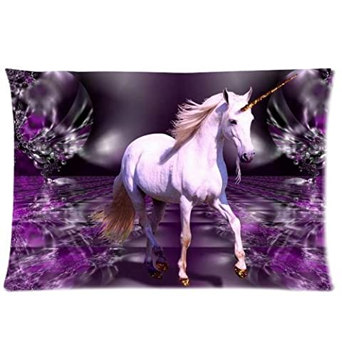 Pretty White Unicorn in Fantasy Purple Crystal World Custom Queen Size Pillowcase DIY Pillowslips Roomy in Size 20 30 Inch by - Crystal Unicorn