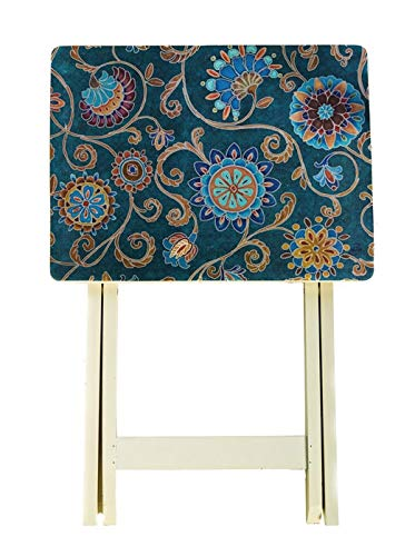 J. Thomas Teal and Dark Blue Paisley, Set of Two, Foldable TV Tray Tables