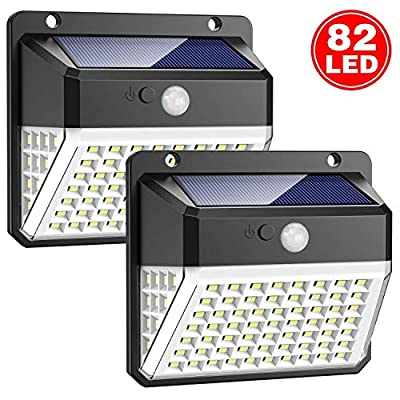Solar Lights Outdoor, Upgraded [82 LEDs] Solar Powered Motion Sensor Lights Waterproof Wall Light Wireless Security Night Light with 270°Angle for Pathway, Garden, Step Stair, Front Door, Yard(2 Pack)