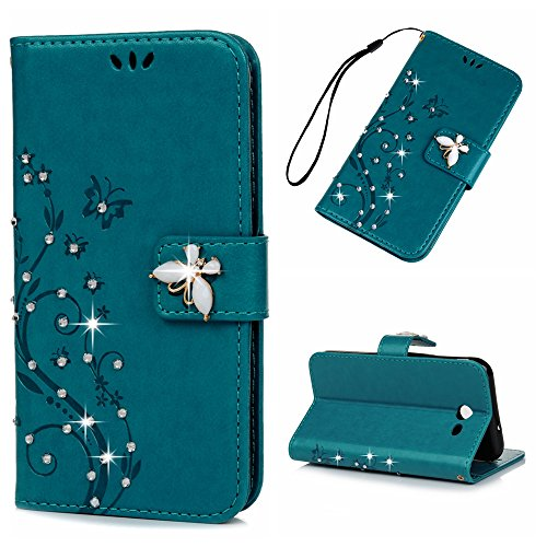 Samsung Galaxy J3 Emerge Case, J3 Prime / J3 2017 Case, YOKIRIN 3D Fashion Handmade Bling Crystal Rhinestone Butterfly Floral PU Flip Stand Credit Card ID Holders Wallet Leather Case Cover, Blue