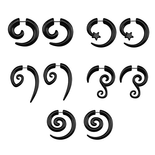 16g Graceful Tribal Spiral Fake Gauges Acrylic Ear Tapers Fake plugs Horn stud earrings (Black Spiral-style) ()
