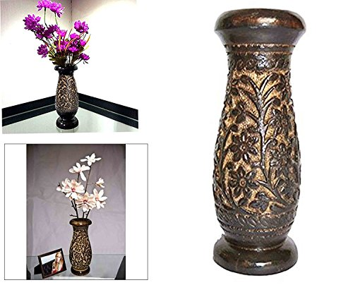 Wooden Flower Vase Carving Work, Flower Vase Outdoor, Flower Vase For Dining Table, Wooden Handmade Flower Vase, Black Color Beautifully Crafted 8 X 3 IN, Easter Day / Mother day / Good Friday Gift (Floor Vases Online)