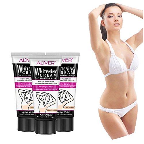EDTara Whitening Cream, Moisturizing Whitening Body Cream for Dark Skin Armpit Elbow Bikini Underarm Thigh 60ml