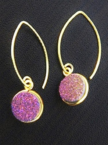 [Sosie Vermeil Gold Over Sterling Silver Marquis Round Bezel Druzy Earrings- Violet] (14k Marquis)