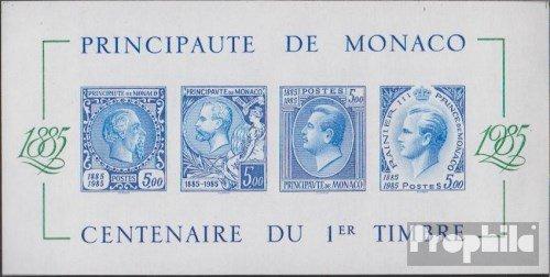 Prophila Collection Monaco Block31U (Completa Edizione) Imperforato 1985 100 Anni Francobolli (Francobolli per i Collezionisti) Francobollo sul Francobollo