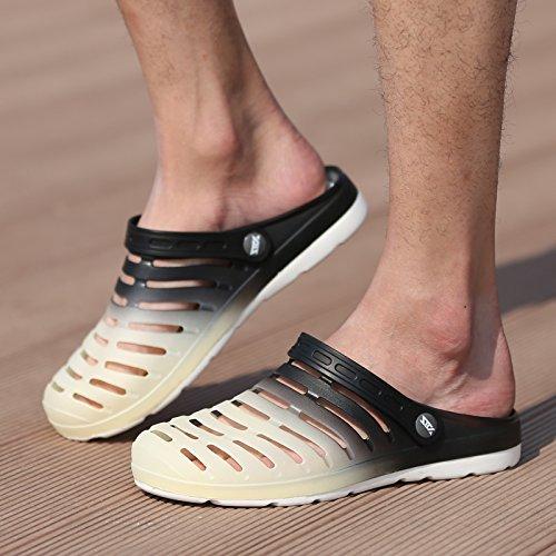 Xing Lin Flip Flop De La Playa Los Hombres Del Agujero De Verano Zapatos Zapatillas Calzado De Playa De Moda La Mitad Femenina Zapatillas Sandalias De Tamaño Grande De Parejas 233-14 black rice