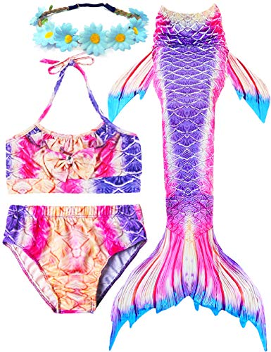 (Garlagy 3 Pcs Girls Swimsuit Mermaid Tails for Swimming Bikini Set Bathing Suit Swimmable Can Add Monofin for 3-14Y (9-10/Ht:51-54in(tag 140), A-a Sweet)