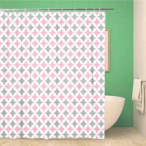 Awowee Bathroom Shower Curtain Pink Girl Pastel Cathedral Window Pattern Gray Patchwork Abstract 72x72 inches Waterproof Bath Curtain Set with Hooks