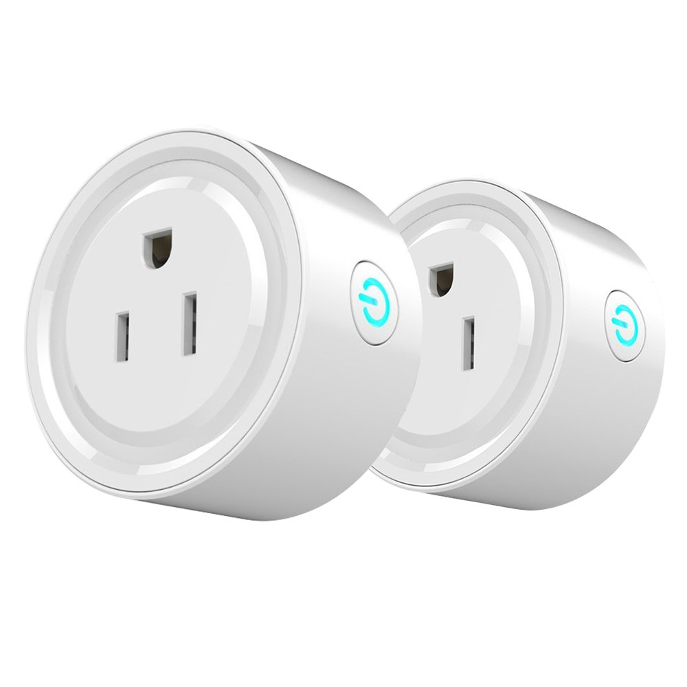 Wifi Smart Plug, SHome Wireless Mini Outlet Smart Socket 2 packs with Timing, Work with Amazon Alexa and Google Home, Remote Control Your Home Electric Devices from Anywhere, No Hub Required