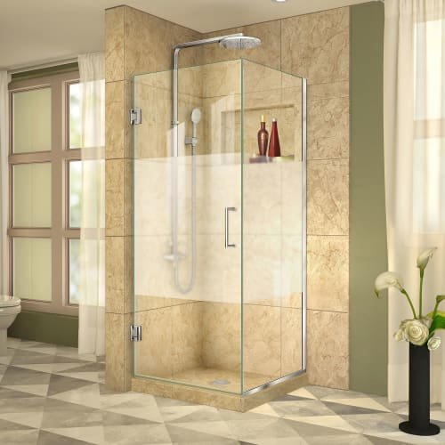 DreamLine Unidoor Plus 30 3/8 in. W x 30 in. D x 72 in. H Frameless Hinged Shower Enclosure, Frosted Band, Chrome, (Dreamline Amazon Shower Enclosure)