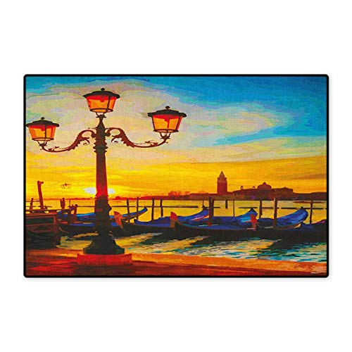Venice,Door Mats for Home,Antique Lantern and Gondolas Floating in The Grand Canal Artistic Sunrise,Door Mats for Inside Doorroom Mat Non Slip Backing,Orange Yellow Blue,Size,20