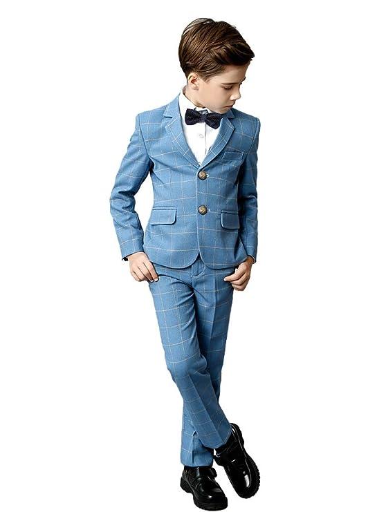 YuanLu Boys Suits 5 Piece Set Slim Fit Royal Blue Boy Suit