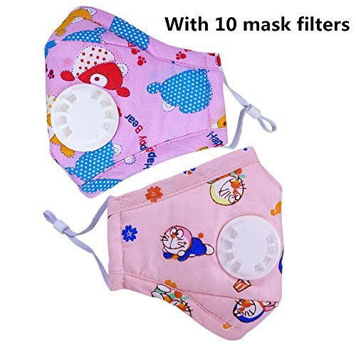 Ligart Kids Anti Pollution Mask with Activated Carbon N95 Filters Dust Mask Filtration Exhaust Gas Anti Pollen Allergy PM2.5 Air Filter Mask for Outdoor Activities 5Pcs by Ligart
