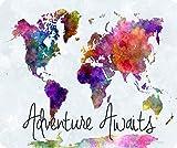 sharp atomic - Adventure Awaits Watercolor Map Mousepad by Atomic Market