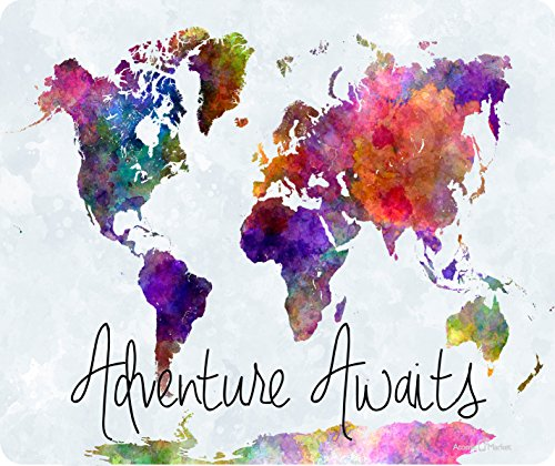Adventure Awaits Watercolor Map Mousepad by Atomic Market