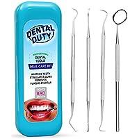 Kit de higiene dental–Set de cálculo & Plaque Remover acero inoxidable Tarter raspador, diente Pick, escalador y la boca dental Espejo. Dentista Herramientas de uso doméstico, Agua (Aqua)