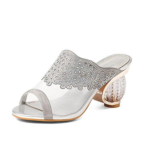 L@YC Zapatos De TacóN alto De Las Mujeres De Cuero De Verano De Pescado Zapatillas De La Boca De agua Hilo Neto De Espesor Con El Cristal White