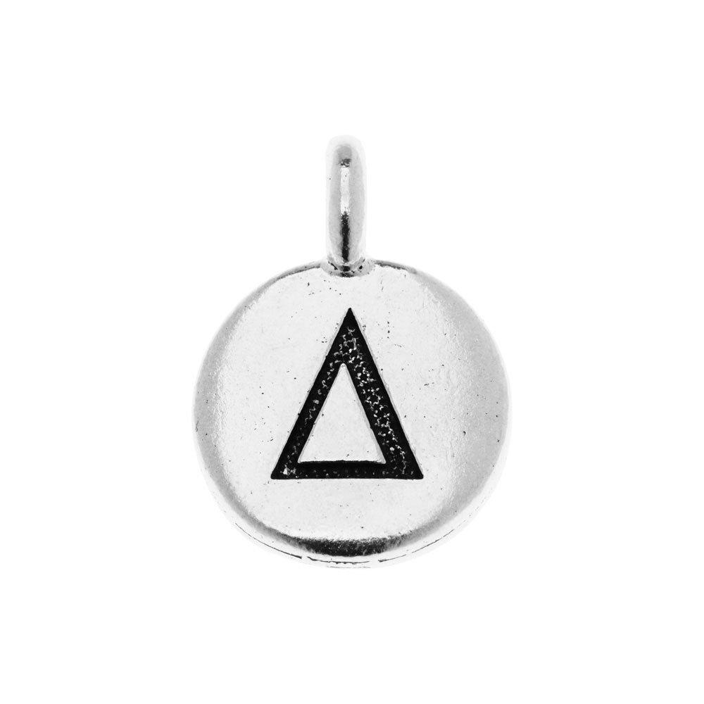 TierraCast Greek Alphabet Charm, Delta Symbol 16.75x11.75mm, 1 Piece, Antiqued Silver Plated