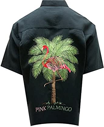 Bamboo cay men 39 s back embroidered pink palmingo button for Bamboo button down shirts