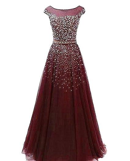 Dreagel Womens Sequin Beaded Prom Dresses Long Sleeveless Sparkly