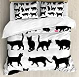 Cat Duvet Cover Set Queen Size by Ambesonne, Black Cat Silhouettes in Different Poses Domestic Pets Kitty Paws Tail and Whiskers, Decorative 3 Piece Bedding Set with 2 Pillow Shams, Black White