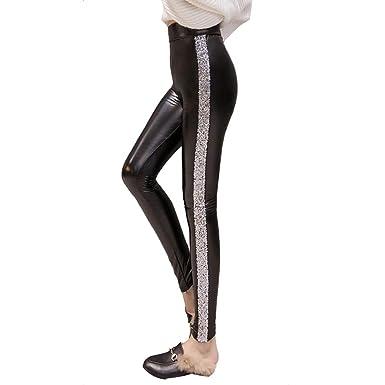 Collant Sexy Femme Leggings Pu Paillette Hibote Pantalon Cuir Faux BothrdCxsQ